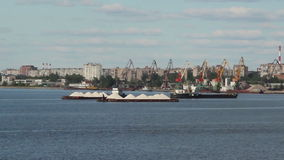 The ship in port, Cherepovets stock footage