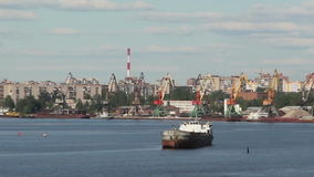 The ship in port, Cherepovets stock video footage