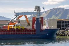 Ship in the port of Myre near Niksund Stock Photography