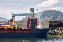 Ship in the port of Myre near Niksund Stock Photo