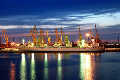 Ship and port at night Stock Photography