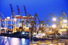 Ship and port at night Royalty Free Stock Photo