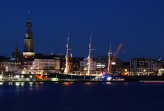 Ship port. Night port in Hamburg city Royalty Free Stock Photos