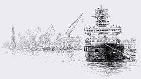 Ship in a port Royalty Free Stock Image