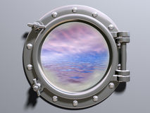 Ship porthole. Looking out to a dreamlike horizon Royalty Free Stock Image