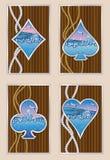 Ship porthole poker cards, underwater background Stock Image