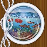 Ship porthole tropical underwater Royalty Free Stock Photo
