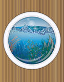 Ship porthole underwater cover design Royalty Free Stock Photography