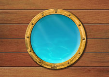 Ship porthole with underwater view vector illustration