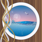 Ship porthole with underwater view Stock Photos