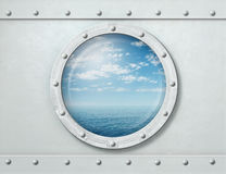 Ship porthole or window with sea and horizon 3d illustration Royalty Free Stock Images