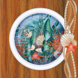 Ship porthole window with underwater scene Stock Image