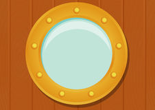 Ship porthole on wooden texture. Ship porthole in cartoon style  on wooden texture. Transparent shadow. Eps10 vector illustration Royalty Free Stock Photography