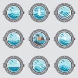Ship portholes set Royalty Free Stock Image