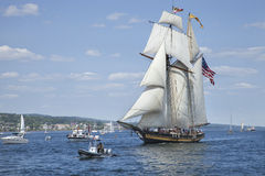 The ship Pride of Baltimore II enters Duluth harbor during the t Royalty Free Stock Photo