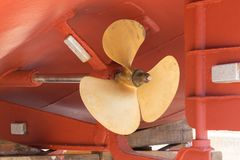 Ship propeller in the dry dock Royalty Free Stock Photo