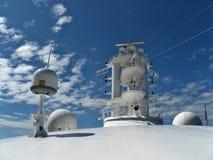Ship radar. White radar equipment on cruise ship, sky as background Stock Images