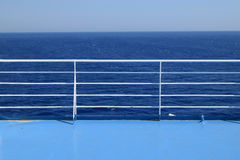 Ship railings blue sea Stock Photography