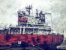 Ship through a rainy window. Tanker ship behind rainy window Stock Photo