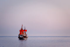 Ship with red sails Royalty Free Stock Photo