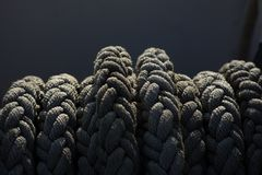Ship reel with ropes on it in direct sunlight royalty free stock photo