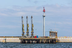 Ship refueling station Stock Image