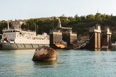 Ship repair dock in the Bay Black Sea. Royalty Free Stock Photography