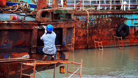 Ship repair worker Royalty Free Stock Photography