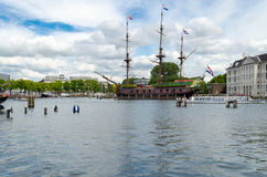Ship replica of the 18th-century cargo ship named Amsterdam Royalty Free Stock Photos