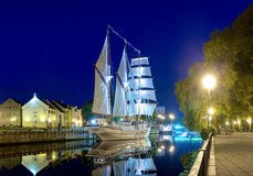 Ship-restaurant Meridian is docked on the Danes river. Klaipeda city, Lithuania. Royalty Free Stock Photos