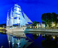 Ship-restaurant Meridian is docked on the Danes river. Klaipeda city, Lithuania. Stock Photography