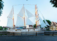 Ship-restaurant Meridian is docked on the Danes river. Klaipeda city, Lithuania. Stock Images