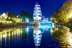 Ship-restaurant Meridian is docked on the Danes river. Klaipeda city, Lithuania. Stock Photo