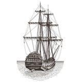 Ship retro on a white background. illustration Royalty Free Stock Images