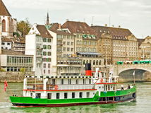Ship on rhine in Basel Stock Image