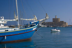 Ship in Rhodes harbour stock photo