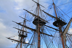 Ship rigging and masts. Closeup of crows nest, ship masts and rigging royalty free stock photography