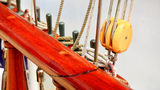 Ship rigging on old yacht Stock Photos