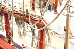 Ship rigging on old yacht Royalty Free Stock Image