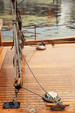 Ship rigging on old yacht Stock Images