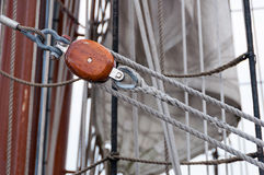 Ship rigging. Rigging and Rope on a ship Royalty Free Stock Images