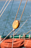 Ship rigging. Rigging and Rope on a ship Royalty Free Stock Photo