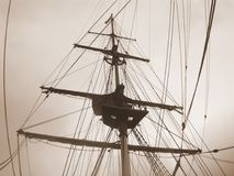 Ship rigging in sepia Stock Image