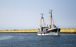 Ship on river. royalty free stock photography