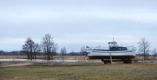 Ship on river coast, Lithuania Royalty Free Stock Photography