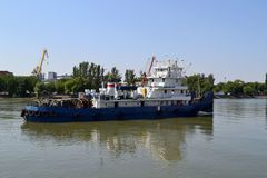 The ship on the river Don. Rostov-on-don. Clear July day. Photo taken on: July 17 Wednesday, 2013 Stock Photo