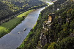Ship on river elbe near Bastei in saxony Stock Photo