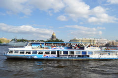 Ship on the River Neva Royalty Free Stock Photography