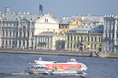 Ship on the River Neva Stock Image
