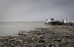 Ship in river port. Small tourist ship in the port of town Ram on Danube,southeast Europe ... during the autumn a lot of branches and roots river can bring to a Royalty Free Stock Photo